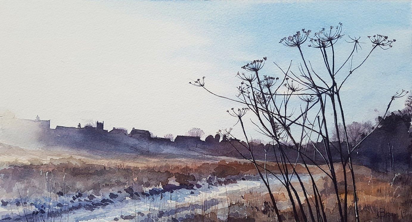 Winter Morning With Seedheads, 2019, Watercolour
