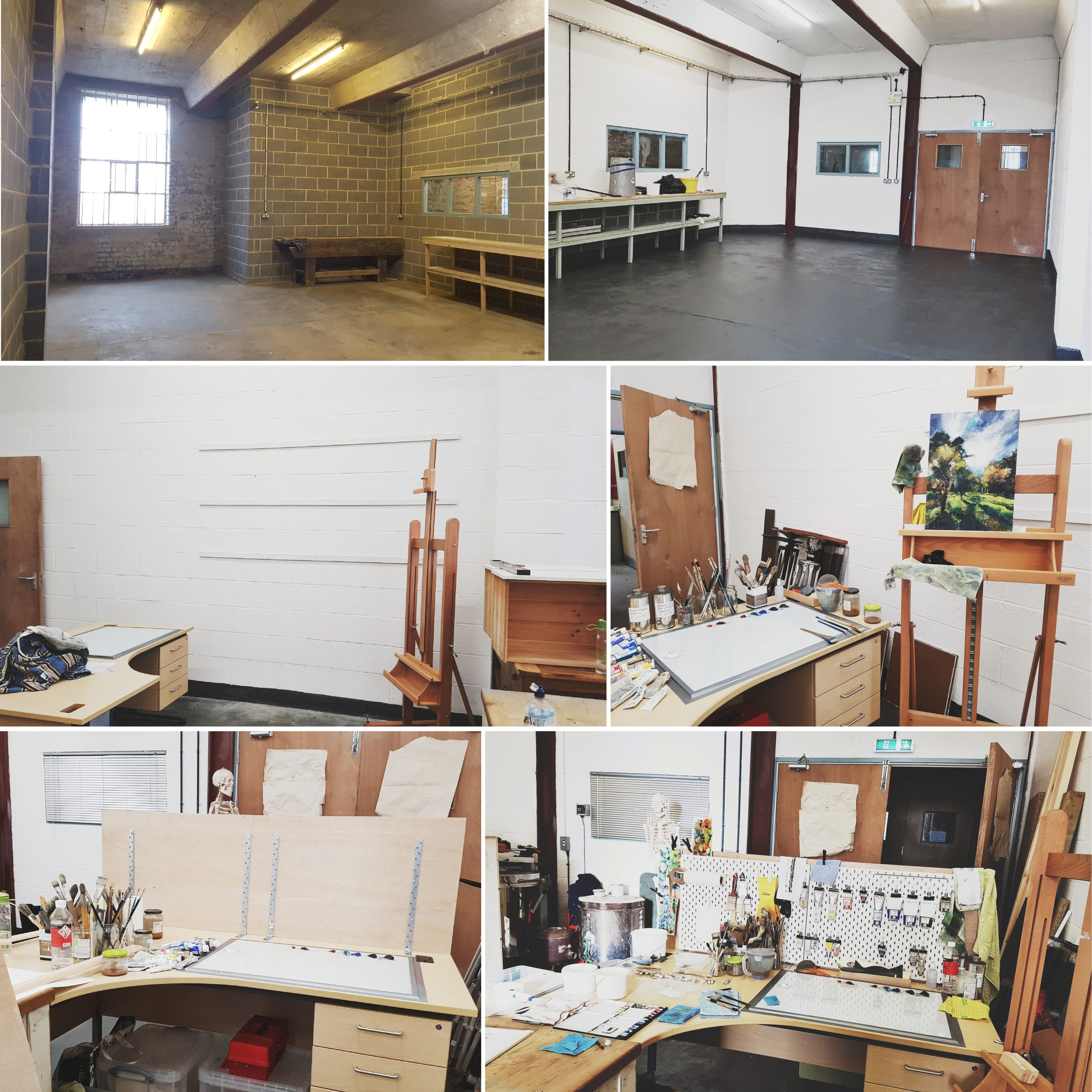 Photo montage of art studio set-up from start to finish