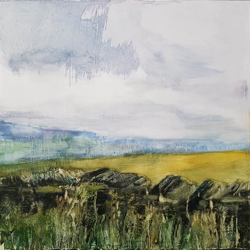 Over Royd Moor, 2020, Oil on board, 45 x 45cm | Julia Brown
