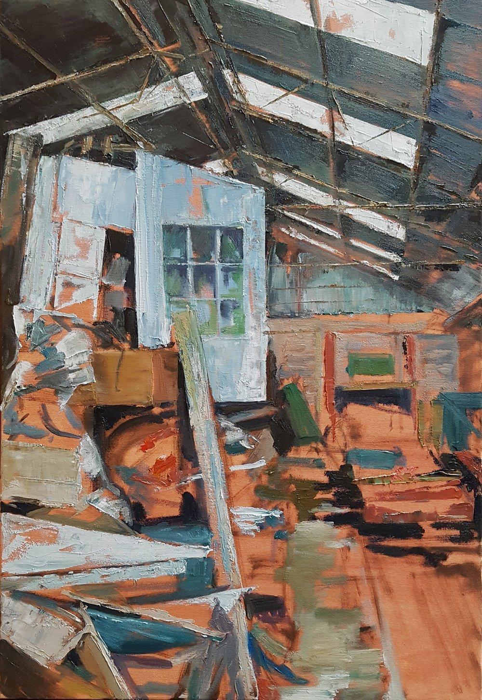 'Engine Shed, Threlkeld', 2019, industrial interior, oil painting, Julia Brown