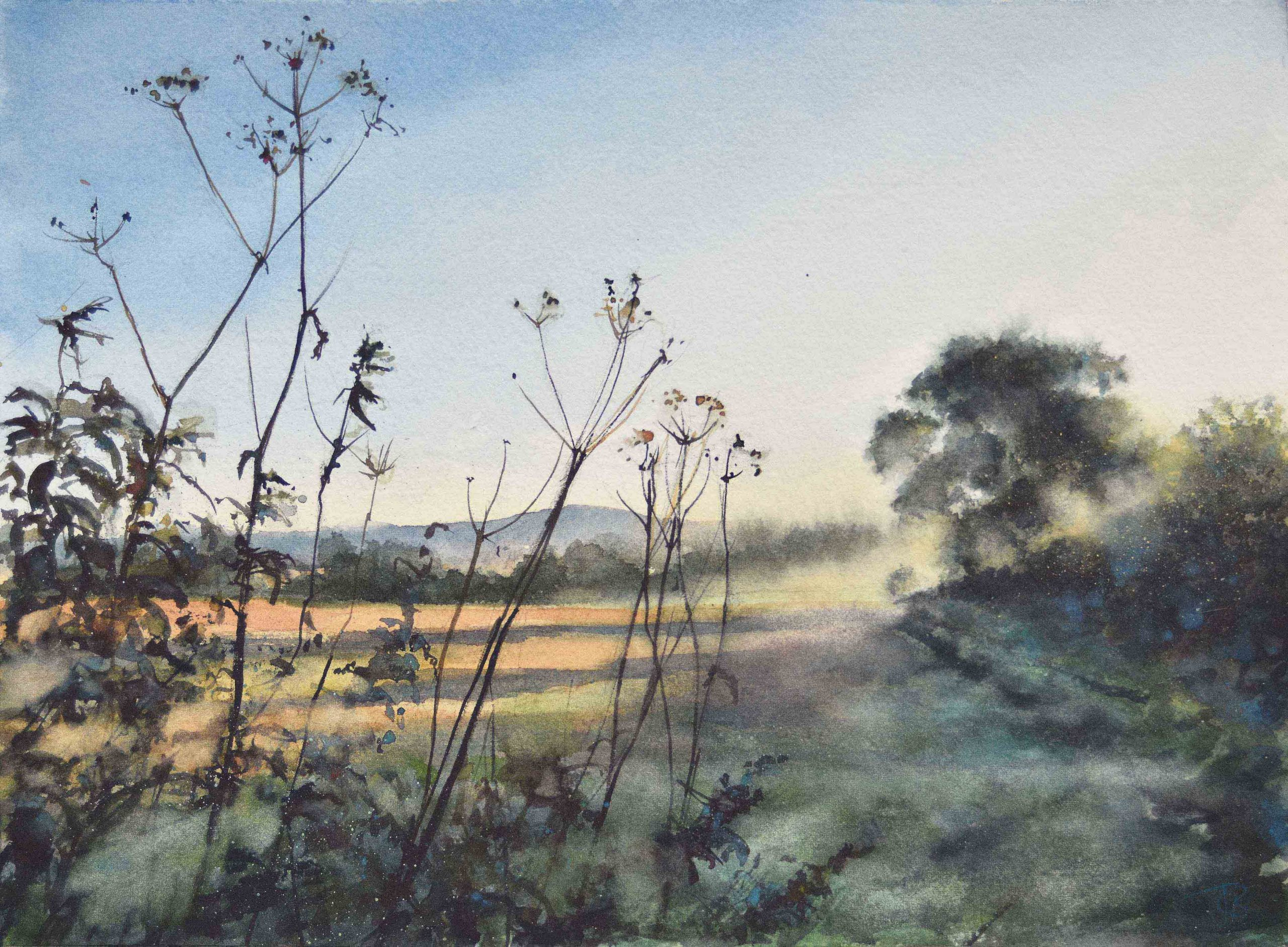 'Autumn Dawn Mist' Watercolour Landscape, 2020, Julia Brown